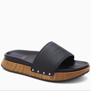 Buscemi Topanga Leather Slide Studded Wood Sandals